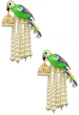 Gold Finish Green Enamelled Jhumki Earrings