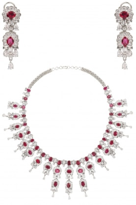 Rhodium Finish Ruby and White Sapphire Necklace