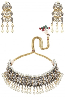 Antique and 22k Gold Finish Kundan Studded Necklace