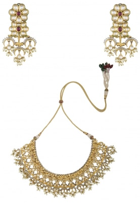 22k Gold Finish Kundan, Garnet and White Sapphire Necklace
