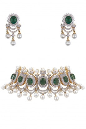 Rhodium and 22k Gold Finish Emerald and White Sapphire Necklace