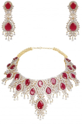 22k Gold Finish Red Ruby and White Sapphire Bridal Necklace
