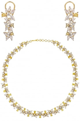 Rhodium and 22k Gold Finish Yellow and White Sapphire Necklace
