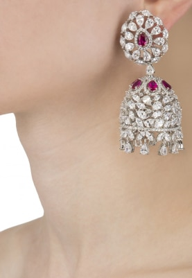 Rhodium Plated Rubies and Swarovski Jhumki Earrings
