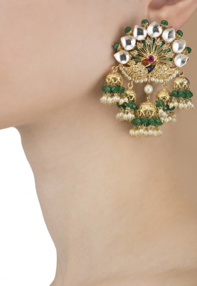 22k Gold Finish Kundan and Green Enamel Peacock Earrings