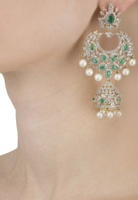 22k Gold and Rhodium Finish White Sapphires and Emerald Stone Earrings