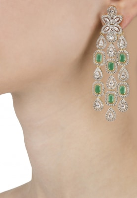 Rhodium and Gold Finish White Sapphires and Emerald Earrings