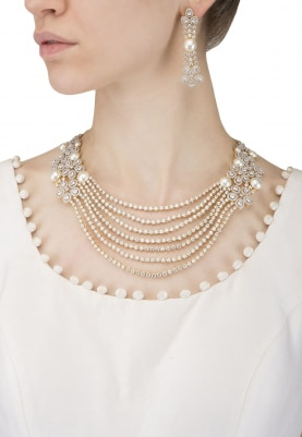Rhodium and 22k Gold Finish White Sapphires and Pearls Necklace