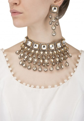Antique and 22k Gold Finish Kundan and White Sapphire Necklace