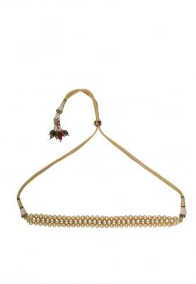 Gold Finish Kundan and Pearl Beads Choker Set