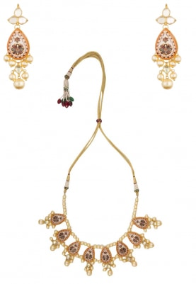 Gold Finish Floral Enamel and Pearl Necklace Set