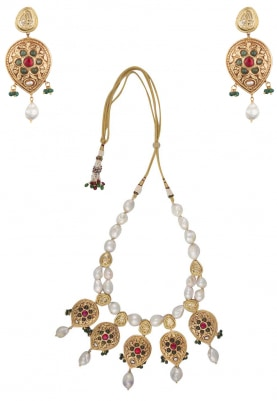 Gold Finish Red and Green Stones Pendant with Pearl Necklace Set