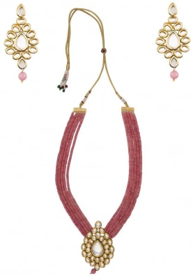 Gold Finish Kundan Pendant with Pink Bead Strings Necklace Set