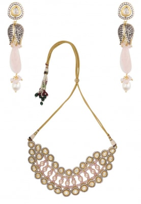 Gold Finish Zircons and Kundan Studded Necklace Set