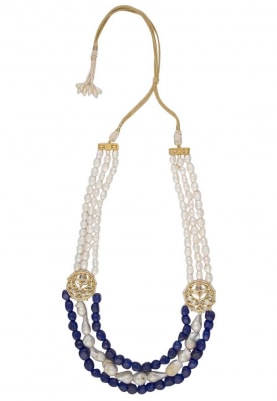 Gold Finish Pearls and Blue Stone Necklace