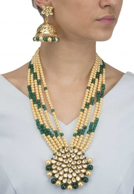 Gold Finish Kundan Studded Pendant with Green Beads Necklace Set