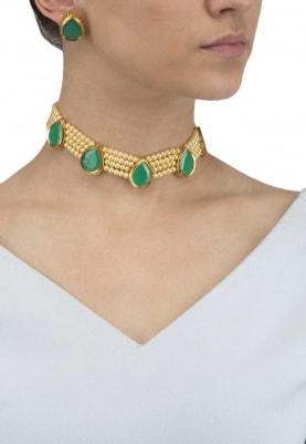 Gold Finish Green Stones and Pearl Choker Set