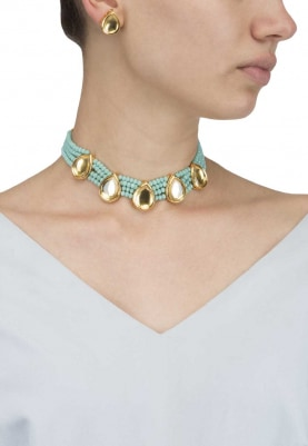 Gold Finish Gold Stones and Blue Pearl Choker Set