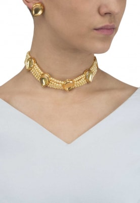 Gold Finish Gold Stones and Pearl Choker Set