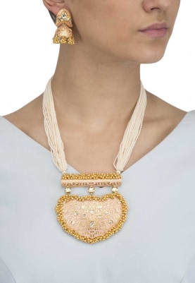 Gold Finish Pink Textured Enamelled Pendant with Pearl Necklace Set