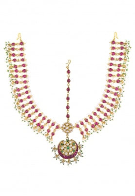 Gold Plated Pink Bridal Mathapatti