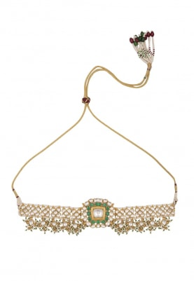 Gold Plated White and Green Stones Thin Choker Necklace