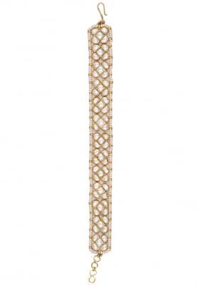 Gold Plated White Jadtar Stone Bracelet