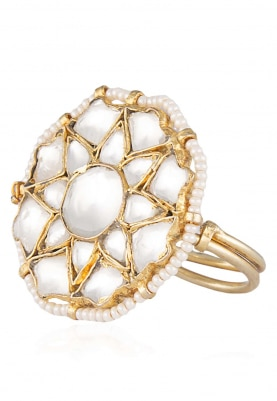 Gold Plated Small Flower Shaped Jadtar Ring