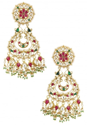 Gold Plated Pink and Green Chandbaali Earrings