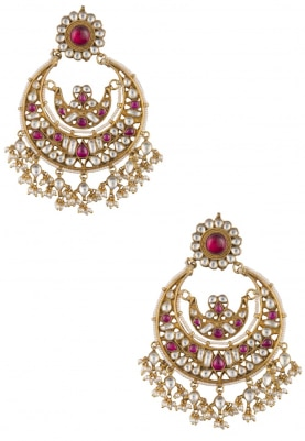 Gold Plate Pink and White Chandbali Earrings