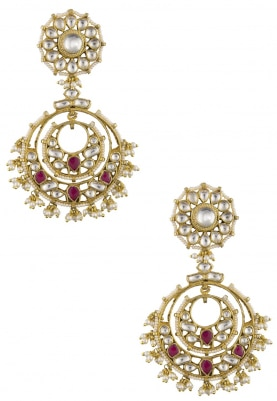 Gold Plated Pink and White Chandbali Earrings
