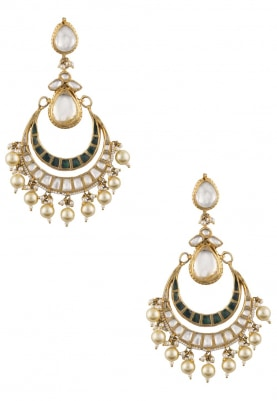 Gold Plated Green Jadtar Crescent Chandbali Earrings
