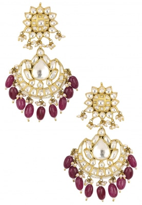 Gold Plated Jadtar Crescent Earrings