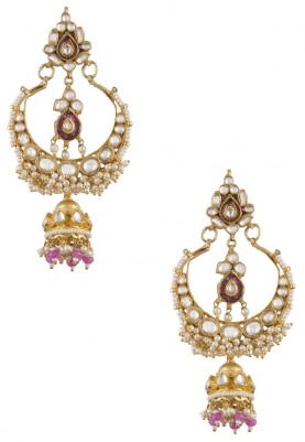 Gold Plated Pink Stone Jhumki Earrings