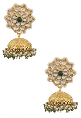 Gold Plated Flower Jhumki Earrings
