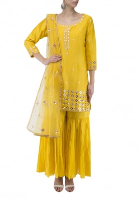 Yellow Kurta with Mirror Work All-Over Paired with Gharara Pants and Mirror Work Butti Dupatta