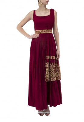 Maroon Gown with Embroidered Belt and Dupatta