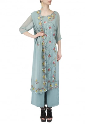 Blue Kurta Set with Contrast Colot Embroidery On Center Front Panel
