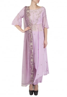 Lilac Kurta Set with Embroidery On Neckline and Cheeta Work All-Over