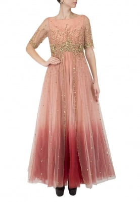 Peach Maroon Ombre Shaded Gown with Hand Embroidery On Waistline