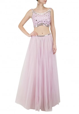 Lilac Skirt and Top with Mirror Work All-Over Choli and Belted Waist Band Of Skirt