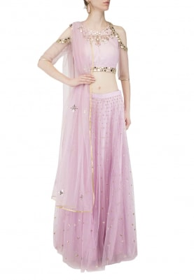 Lilac Lehenga, Choli and Dupatta with Sequin and Mirror Work All-Over