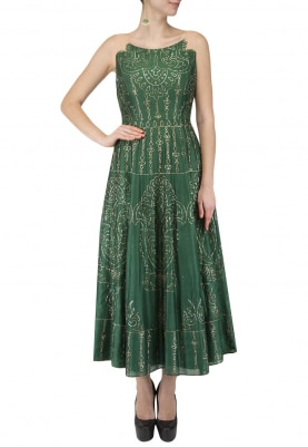 Green Kalidar Gown with Illusion Neckline and Pitta Gold Work All-Over