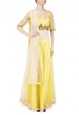 Yellow-Pink Lehenga, Choli and Dupatta with Sequin and Thread Work All-Over Choli