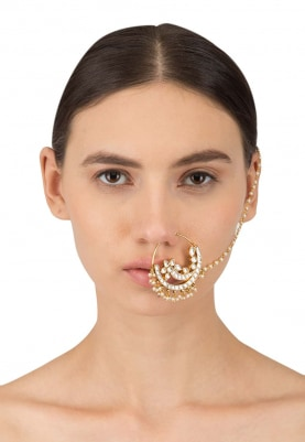 Gold Plated Kundan Studded Nose Ring