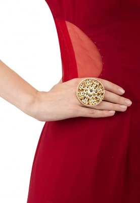 Gold Plated Big White Jadtar Bridal Ring