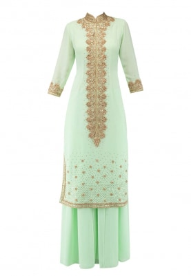 Sea Green Kurta, Sharara Pants and Dupatta with Heavy Neckline Embroidered Kurta
