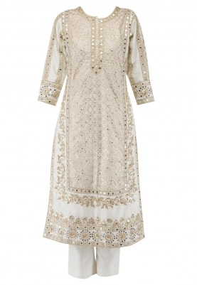 Ivory Havy Work Embroidered Kurta, Cigratte Pants and Worked Dupatta