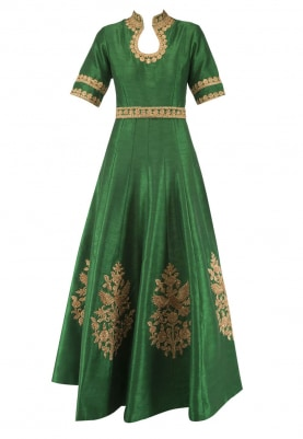 Emerald Green Anarkali with Bird Embroidery, Mustard Sequin Butti Dupatta and Lycra Churidar