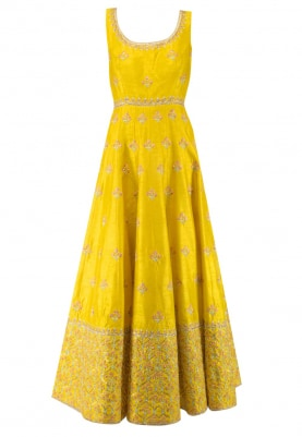 Yellow Anakali with Resham and Sequin Embroidery, Churidar and Pink Dupatta